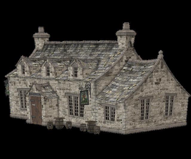 starý kamenný dům animace