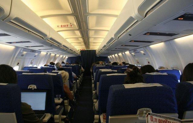 vnitřek letadla