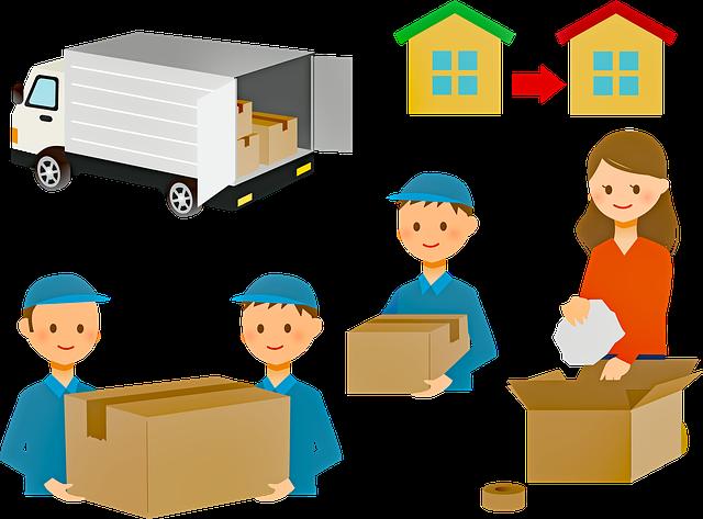 kreslený obrázek – stěhování věcí zabalených v krabici pomocí profesionální firmy.png
