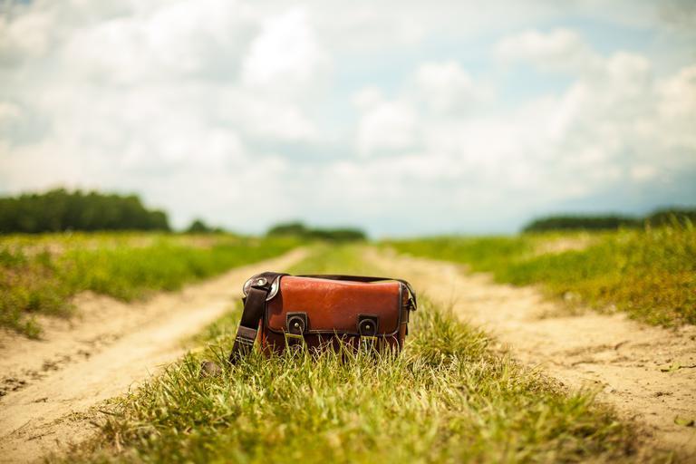 kabelka v trávě