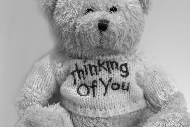 """plyšový medvídek s tričkem """"myslím na tebe"""""""
